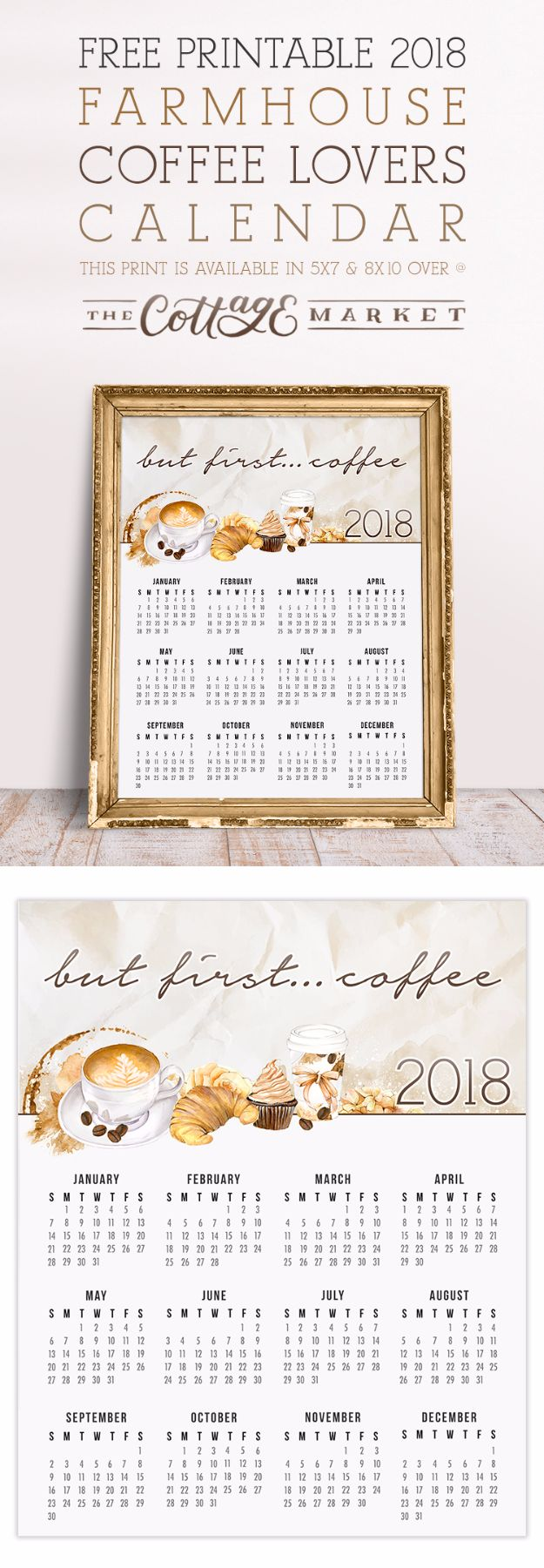 DIY Ideas for The Coffee Lover - Farmhouse Coffee Lover Calendar Free Printable - Easy and Cool Gift Ideas for People Who Love Coffee Drinks - Coaster, Cups and Mugs, Tumblers, Canisters and Do It Yourself Gift Ideas - Gift Jars and Baskets, Fun Presents to Make for Mom, Dad and Friends http://diyjoy.com/diy-ideas-coffee-lover