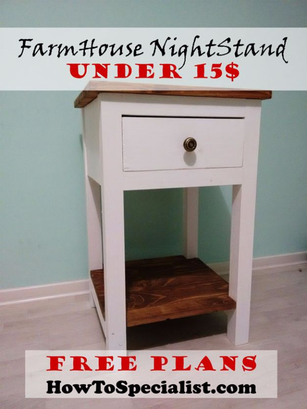 DIY Nightstands for the Bedroom - Farmhouse Nightstand Under $15 - Easy Do It Yourself Bedside Tables and Furniture Project Ideas - Thrift Store Makeovers For Your Room and Bed Side Night Stand - Storage for Books and Remotes, Cute Shabby Chic and Vintage Decor - Step by Step Tutorials and Instructions http://diyjoy.com/diy-nightstands-bedroom