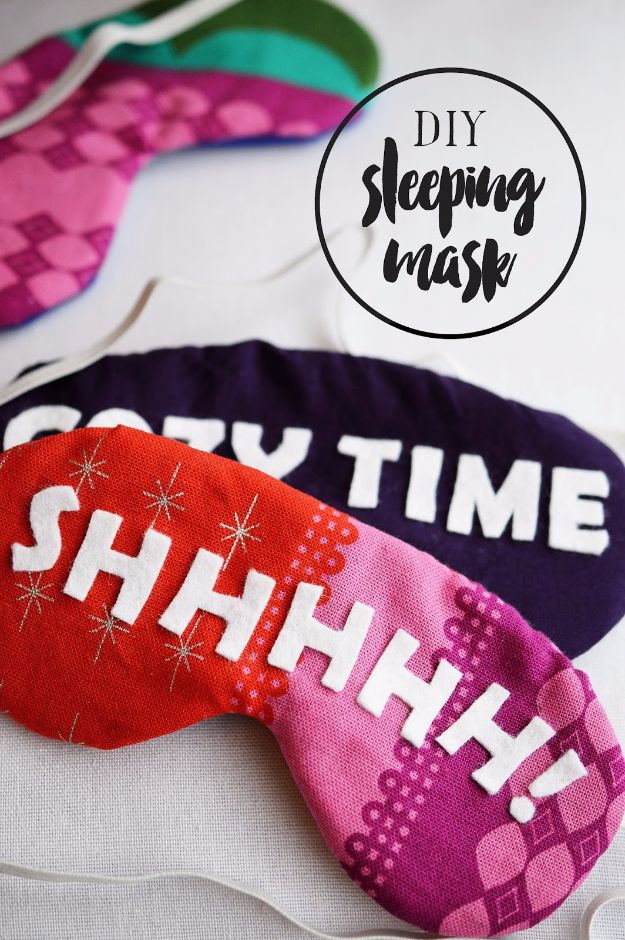 DIY Sleep Masks - Felt And Fabric Sleeping Mask - Cute and Easy Ideas for Making a Homemade Sleep Mask - Best DIY Gift Ideas for Her - Cool Crafts To Make and Sell On Etsy - Creative Presents for Girls, Women and Teens - Do It Yourself Sleeping With Words, Accents and Fun Accessories for Relaxing   #diy #diygifts