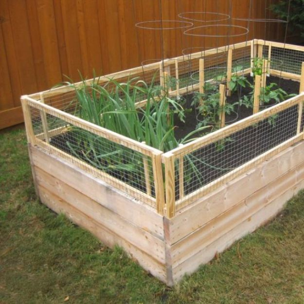 DIY Garden Beds - Fenced Garden Bed - Easy Gardening Ideas for Raised Beds and Planter Boxes - Free Plans, Tutorials and Step by Step Tutorials for Building and Landscaping Projects - Update Your Backyard and Gardens With These Cheap Do It Yourself Ideas http://diyjoy.com/diy-garden-beds