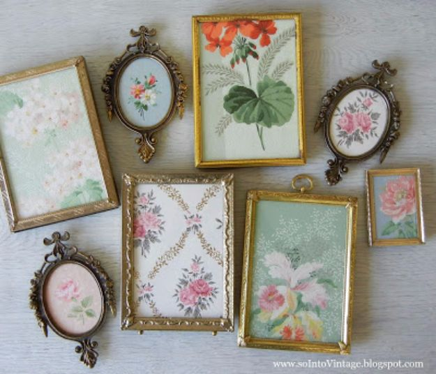 DIY Ideas for Wallpaper Scraps - Framed Vintage Wallpaper Art - Cute Projects and Easy DIY Gift Ideas to Make With Leftover Wall Paper - Fun Home Decor, Homemade Wall Art Idea Tutorials, Creative Ways to Use Old Wallpapers - Cool Crafts for Men, Women and Teens http://diyjoy.com/diy-ideas-wallpaper-scraps
