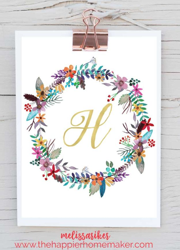 Best Free Printables for Crafts - Free Printable Monogram Art - Quotes, Templates, Paper Projects and Cards, DIY Gifts Cards, Stickers and Wall Art You Can Print At Home - Use These Fun Do It Yourself Template and Craft Ideas for Your Next Craft Projects - Cute Arts and Crafts Ideas for Kids and Adults to Make on Printer / Printable http://diyjoy.com/best-free-printables-crafts