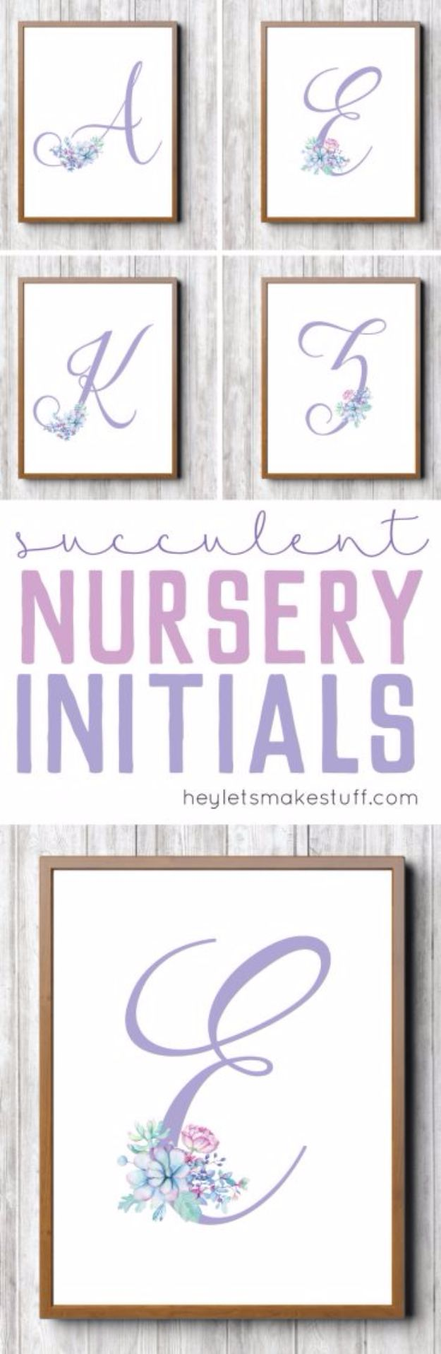 Best Free Printables for Crafts - Free Printable Purple Succulent Nursery Initials - Quotes, Templates, Paper Projects and Cards, DIY Gifts Cards, Stickers and Wall Art You Can Print At Home - Use These Fun Do It Yourself Template and Craft Ideas for Your Next Craft Projects - Cute Arts and Crafts Ideas for Kids and Adults to Make on Printer / Printable http://diyjoy.com/best-free-printables-crafts