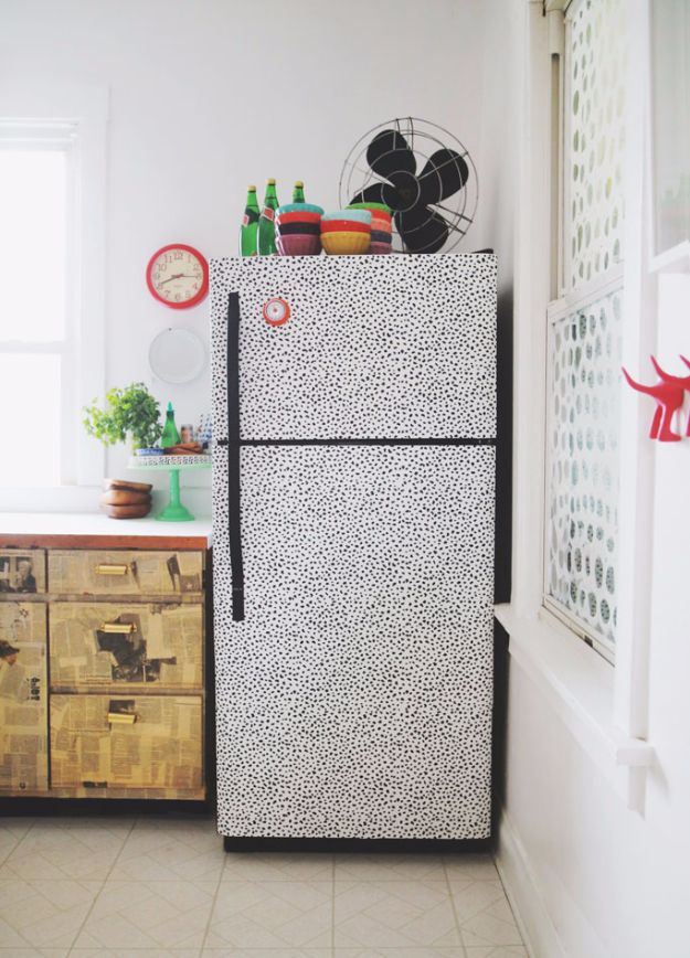 DIY Ideas for Wallpaper Scraps - Freshen Up your Fridge - Cute Projects and Easy DIY Gift Ideas to Make With Leftover Wall Paper - Fun Home Decor, Homemade Wall Art Idea Tutorials, Creative Ways to Use Old Wallpapers - Cool Crafts for Men, Women and Teens http://diyjoy.com/diy-ideas-wallpaper-scraps