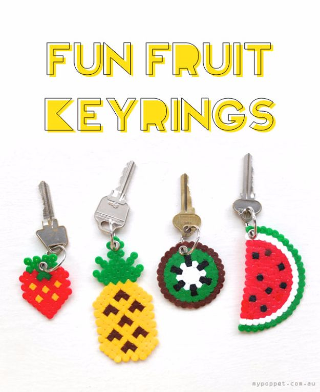 DIY Ideas With Beads - Fun Fruit Keyrings - Cool Crafts and Do It Yourself Ideas Made With Beads - Outdoor Windchimes, Indoor Wall Art, Cute and Easy DIY Gifts - Fun Projects for Kids, Adults and Teens - Bead Project Tutorials With Step by Step Instructions - Best Crafts To Make and Sell on Etsy
