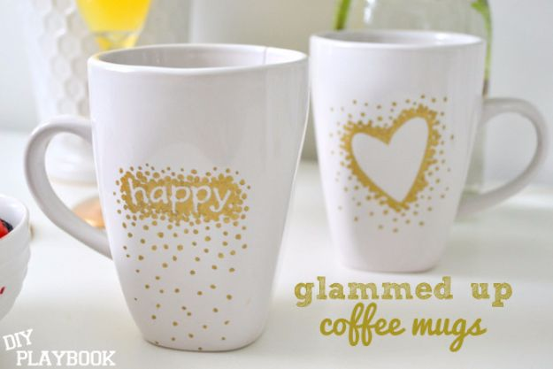 DIY Coffee Mugs - Glammed Up Coffee Mugs - Easy Coffee Mug Ideas for Homemade Gifts and Crafts - Decorate Your Coffee Cups and Tumblers With These Cool Art Ideas - Glitter, Paint, Sharpie Craft, Nail Polish Water Marble and Teen Projects http://diyjoy.com/diy-coffee-mugs