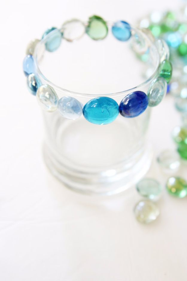 DIY Ideas With Beads - Glass Bead Candle Holder From A Dollar Store - Cool Crafts and Do It Yourself Ideas Made With Beads - Outdoor Windchimes, Indoor Wall Art, Cute and Easy DIY Gifts - Fun Projects for Kids, Adults and Teens - Bead Project Tutorials With Step by Step Instructions - Best Crafts To Make and Sell on Etsy