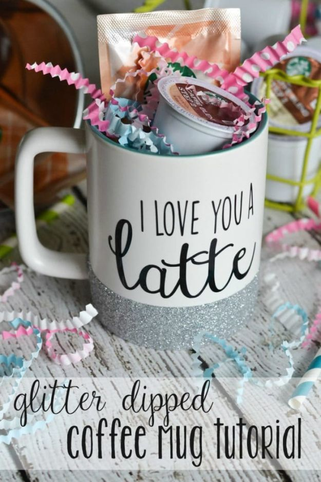 DIY Coffee Mugs - Glitter Dipped Coffee Mug - Easy Coffee Mug Ideas for Homemade Gifts and Crafts - Decorate Your Coffee Cups and Tumblers With These Cool Art Ideas - Glitter, Paint, Sharpie Craft, Nail Polish Water Marble and Teen Projects http://diyjoy.com/diy-coffee-mugs