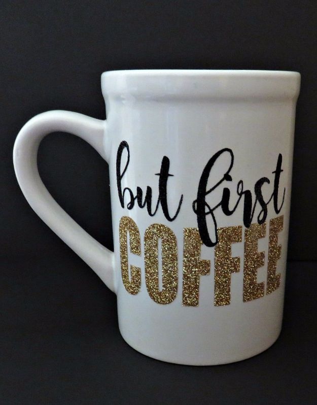 DIY Coffee Mugs - Glitter Heat Transfer Vinyl Mug - Easy Coffee Mug Ideas for Homemade Gifts and Crafts - Decorate Your Coffee Cups and Tumblers With These Cool Art Ideas - Glitter, Paint, Sharpie Craft, Nail Polish Water Marble and Teen Projects http://diyjoy.com/diy-coffee-mugs