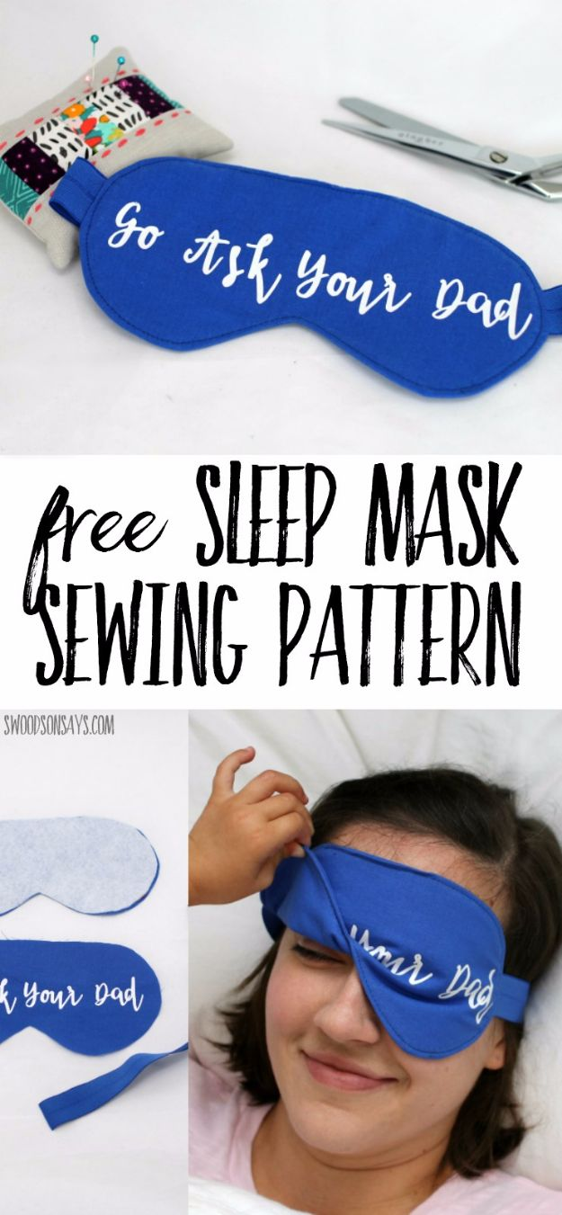 DIY Sleep Masks - Go Ask Your Dad Sleep Mask - Cute and Easy Ideas for Making a Homemade Sleep Mask - Best DIY Gift Ideas for Her - Cool Crafts To Make and Sell On Etsy - Creative Presents for Girls, Women and Teens - Do It Yourself Sleeping With Words, Accents and Fun Accessories for Relaxing   #diy #diygifts