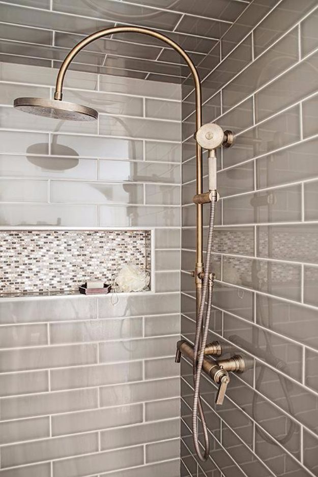 DIY Tile Ideas - Gray Shower Tiles - Creative Crafts for Bathroom, Kitchen, Living Room, and Fireplace - Awesome Shower and Bathtub Ideas - Fun and Easy Home Decor Projects - How To Make Rustic Entryway Art http://diyjoy.com/diy-tile-ideas