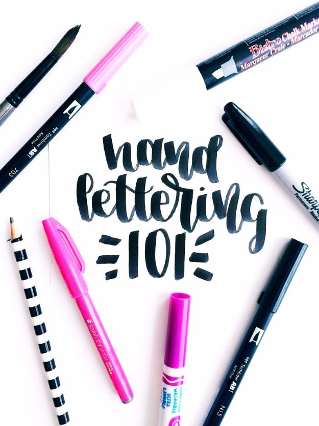Brush Lettering Tutorials - Hand Lettering 101 - Simple and Fun Calligraphy Tutorial Videos - How To Paint the Alphabet in Calligraphy Handwriting with Pens, Watercolors, Adobe Illustrator and Sharpie