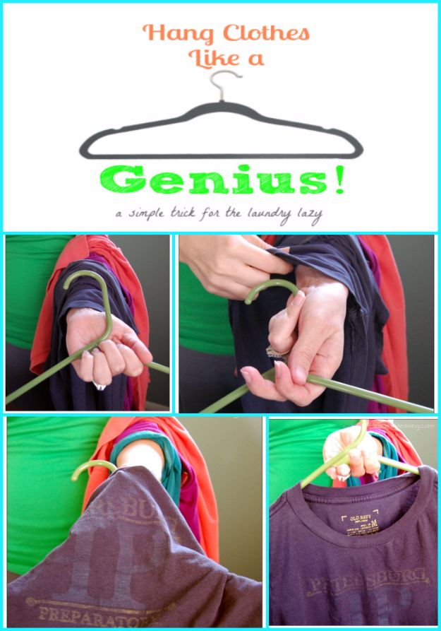 Clothes Hacks - Hang Clothes Like A Genius - DIY Fashion Ideas For Women and For Every Girl - Easy No Sew Hacks for Men's Shirts - Washing Machines Tips For Teens - How To Make Jeans For Fat People - Storage Tips and Videos for Room Decor http://diyjoy.com/diy-clothes-hacks