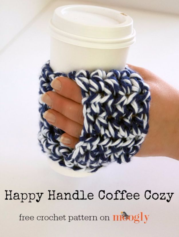 DIY Ideas for The Coffee Lover - Happy Handle Coffee Cozy - Easy and Cool Gift Ideas for People Who Love Coffee Drinks - Coaster, Cups and Mugs, Tumblers, Canisters and Do It Yourself Gift Ideas - Gift Jars and Baskets, Fun Presents to Make for Mom, Dad and Friends http://diyjoy.com/diy-ideas-coffee-lover