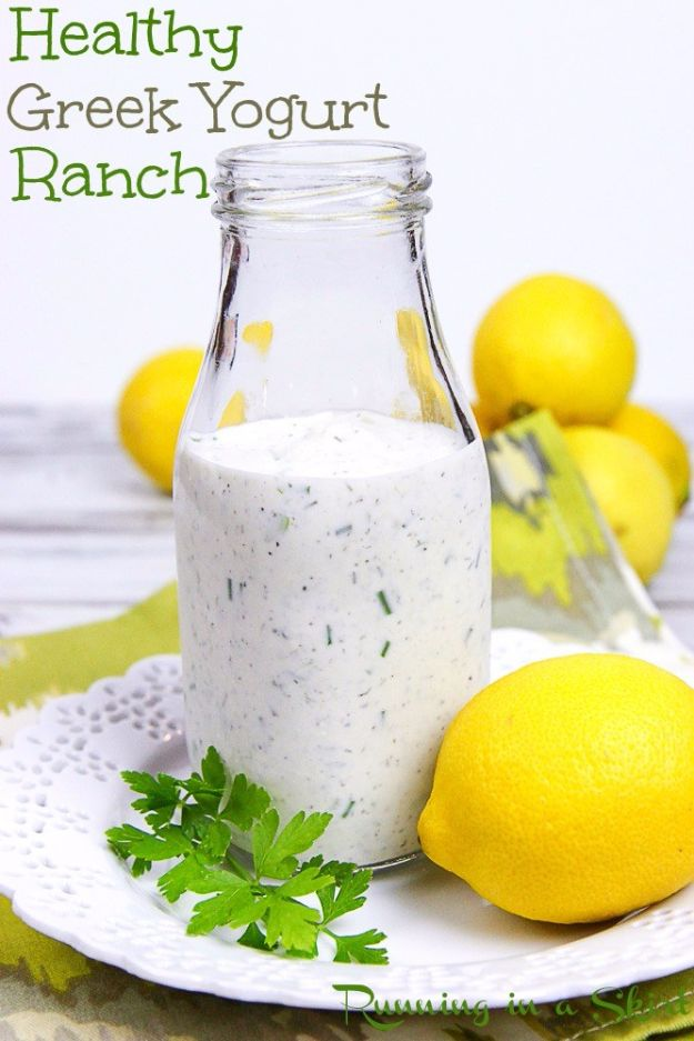Salad Dressing Recipes - Healthy Greek Yogurt Ranch Dressing - Healthy, Low Calorie and Easy Recipes for Creamy Homeade Dressings - How To Make Vinaigrette, Mango, Greek, Paleo, Balsamic, Ranch, and Italian Copycat Dressings http://diyjoy.com/best-salad-dressing-recipes
