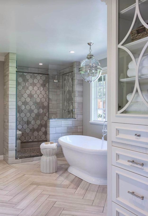 DIY Tile Ideas - High-Rise Palace Ivory Shower Tile Idea - Creative Crafts for Bathroom, Kitchen, Living Room, and Fireplace - Awesome Shower and Bathtub Ideas - Fun and Easy Home Decor Projects - How To Make Rustic Entryway Art #homeimprovement #diy