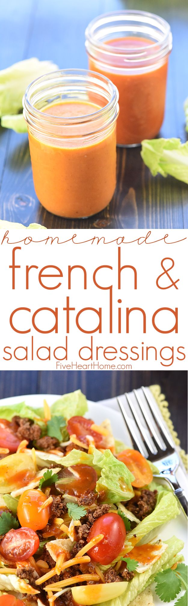 Salad Dressing Recipes - Homemade French & Catalina Salad Dressing - Healthy, Low Calorie and Easy Recipes for Creamy Homeade Dressings - How To Make Vinaigrette, Mango, Greek, Paleo, Balsamic, Ranch, and Italian Copycat Dressings http://diyjoy.com/best-salad-dressing-recipes