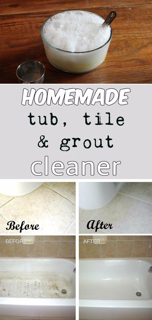 Best Spring Cleaning Ideas - Homemade Tub, Tile And Grout Cleaner - Easy Cleaning Tips For Home - DIY Cleaning Hacks and Product Recipes - Tips and Tricks for Cleaning the Bathroom, Kitchen, Floors and Countertops - Cheap Solutions for A Clean House #springcleaning