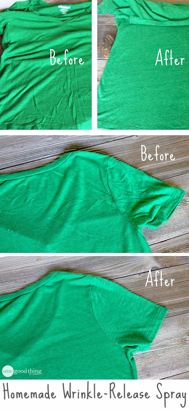 Clothes Hacks - Homemade Wrinkle Release Spray - DIY Fashion Ideas For Women and For Every Girl - Easy No Sew Hacks for Men's Shirts - Washing Machines Tips For Teens - How To Make Jeans For Fat People - Storage Tips and Videos for Room Decor http://diyjoy.com/diy-clothes-hacks