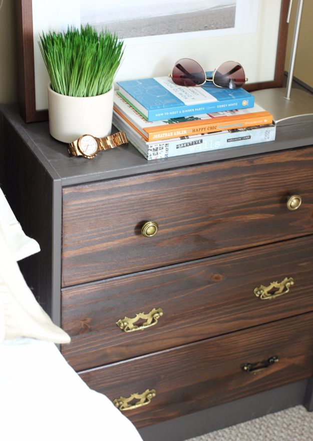 DIY Nightstands for the Bedroom - Ikea Rast Nightstand Hack - Easy Do It Yourself Bedside Tables and Furniture Project Ideas - Thrift Store Makeovers For Your Room and Bed Side Night Stand - Storage for Books and Remotes, Cute Shabby Chic and Vintage Decor - Step by Step Tutorials and Instructions http://diyjoy.com/diy-nightstands-bedroom