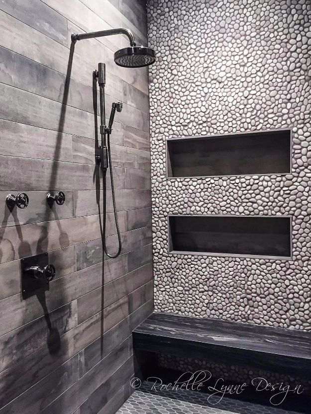 DIY Tile Ideas - In-Laid Pebble Tile Scheme - Creative Crafts for Bathroom, Kitchen, Living Room, and Fireplace - Awesome Shower and Bathtub Ideas - Fun and Easy Home Decor Projects - How To Make Rustic Entryway Art #homeimprovement #diy