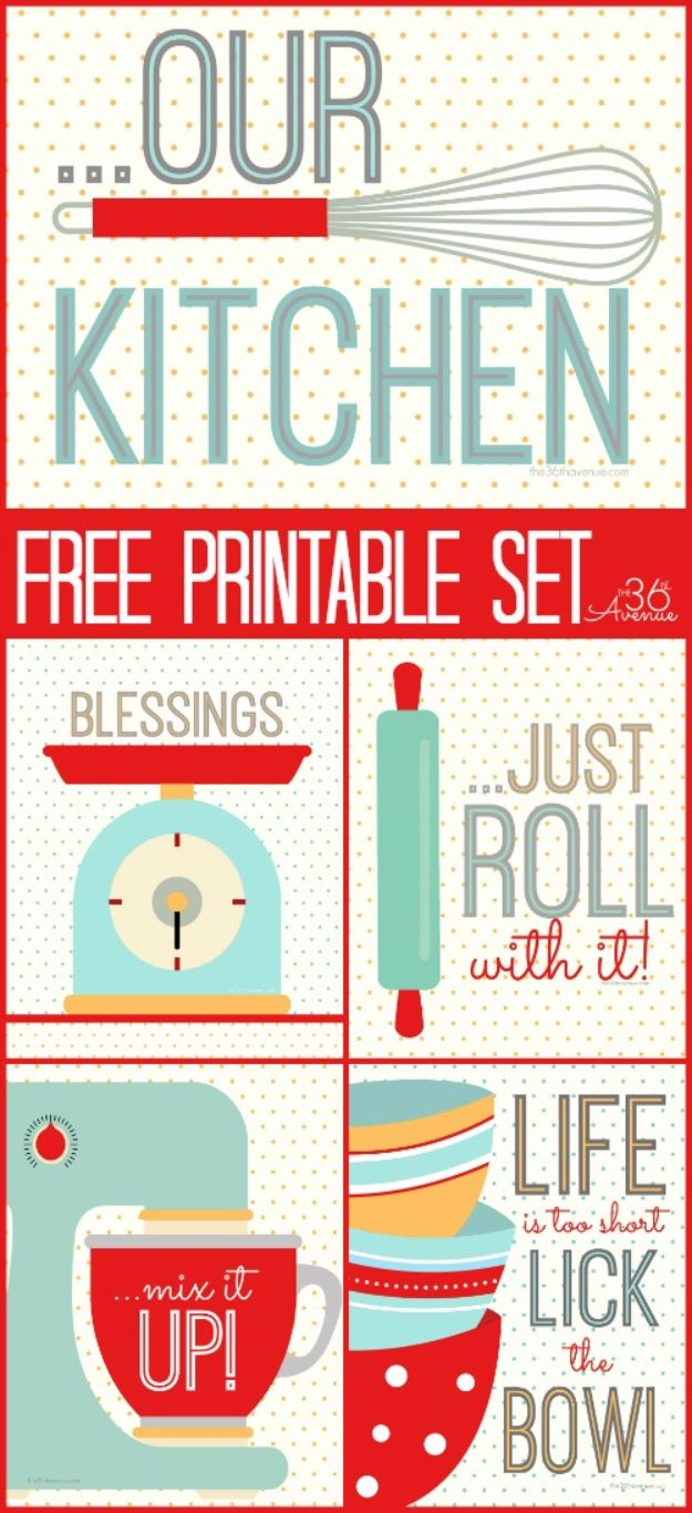 Best Free Printables for Crafts - Kitchen Set Free Printable - Quotes, Templates, Paper Projects and Cards, DIY Gifts Cards, Stickers and Wall Art You Can Print At Home - Use These Fun Do It Yourself Template and Craft Ideas for Your Next Craft Projects - Cute Arts and Crafts Ideas for Kids and Adults to Make on Printer / Printable http://diyjoy.com/best-free-printables-crafts