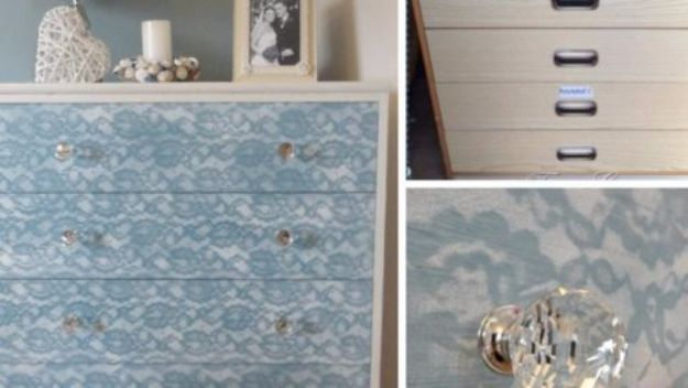 DIY Dressers - Lace Painted Dresser - Simple DIY Dresser Ideas - Easy Dresser Upgrades and Makeovers to Create Cool Bedroom Decor On A Budget- Do It Yourself Tutorials and Instructions for Decorating Cheap Furniture - Crafts for Women, Men and Teens http://diyjoy.com/diy-dresser-ideas