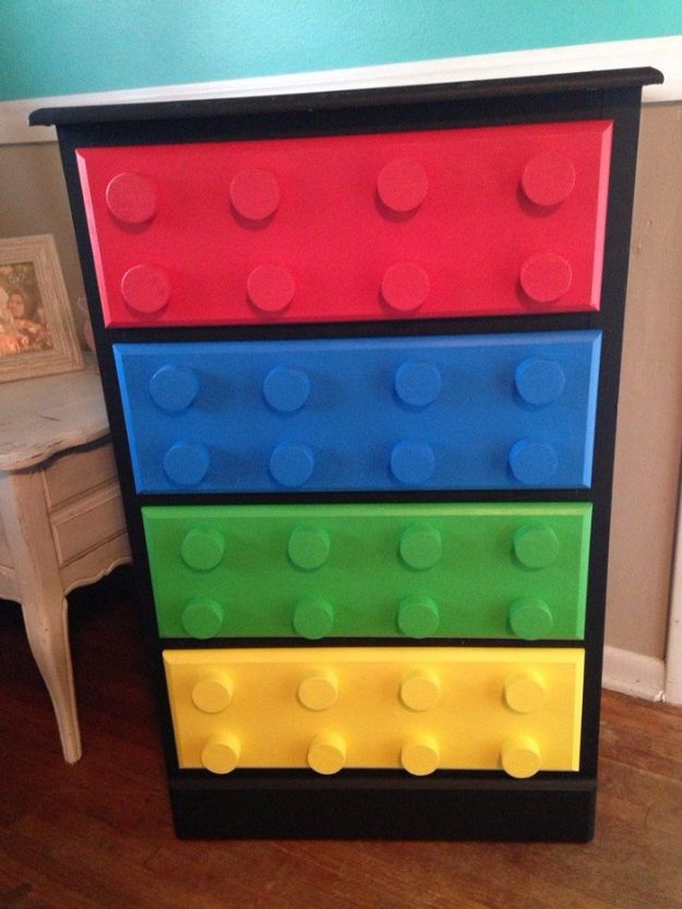DIY Dressers - Lego Themed Dresser - Simple DIY Dresser Ideas - Easy Dresser Upgrades and Makeovers to Create Cool Bedroom Decor On A Budget- Do It Yourself Tutorials and Instructions for Decorating Cheap Furniture - Crafts for Women, Men and Teens http://diyjoy.com/diy-dresser-ideas
