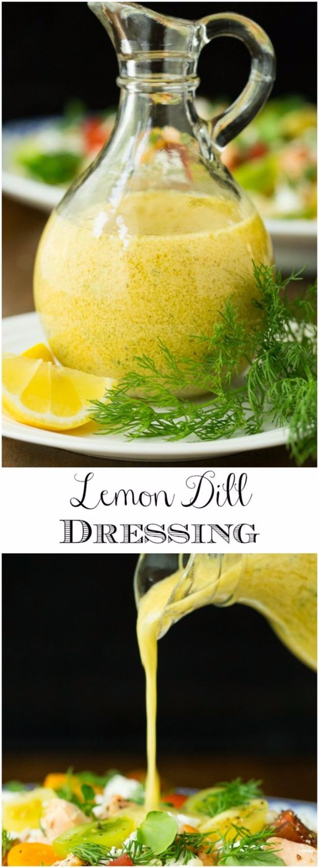 Salad Dressing Recipes - Lemon Dill Dressing - Healthy, Low Calorie and Easy Recipes for Creamy Homeade Dressings - How To Make Vinaigrette, Mango, Greek, Paleo, Balsamic, Ranch, and Italian Copycat Dressings http://diyjoy.com/best-salad-dressing-recipes