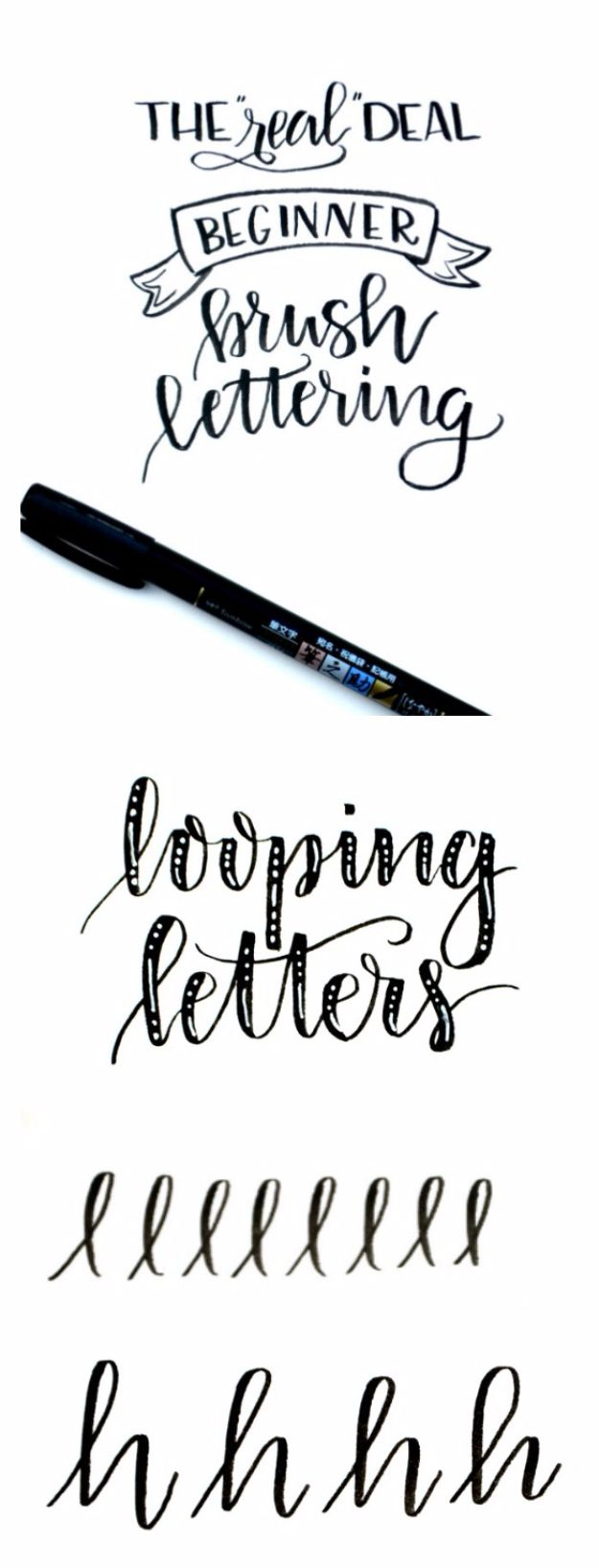 Brush Lettering Tutorials - Looping Letters - Simple and Fun Calligraphy Tutorial Videos - How To Paint the Alphabet in Calligraphy Handwriting with Pens, Watercolors, Adobe Illustrator and Sharpie