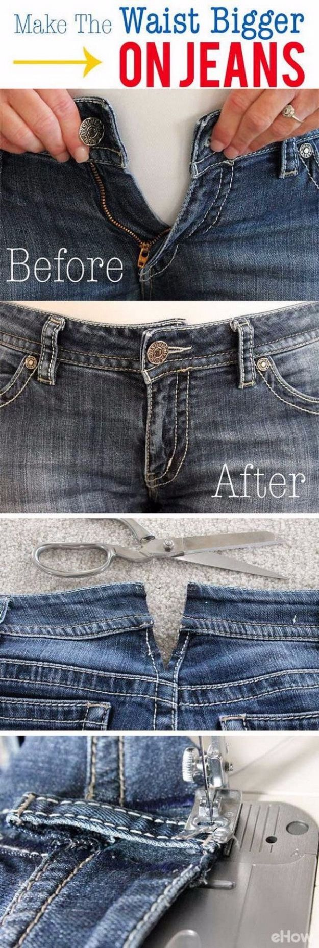 Clothes Hacks - Make The Waist Bigger On Jeans - DIY Fashion Ideas For Women and For Every Girl - Easy No Sew Hacks for Men's Shirts - Washing Machines Tips For Teens - How To Make Jeans For Fat People - Storage Tips and Videos for Room Decor http://diyjoy.com/diy-clothes-hacks