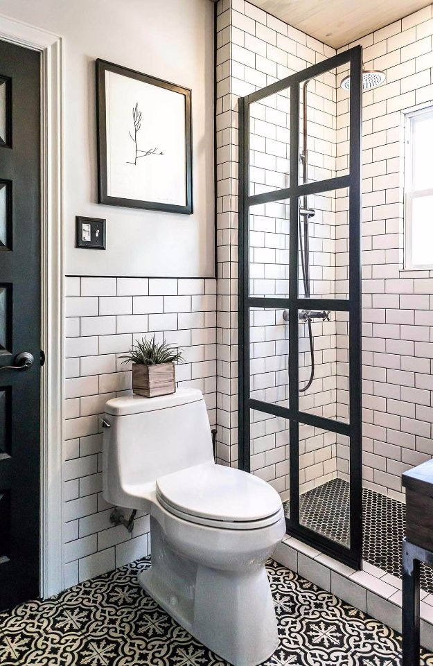 DIY Tile Ideas - Manhattan Chic Black And White Tiling - Creative Crafts for Bathroom, Kitchen, Living Room, and Fireplace - Awesome Shower and Bathtub Ideas - Fun and Easy Home Decor Projects - How To Make Rustic Entryway Art #homeimprovement #diy