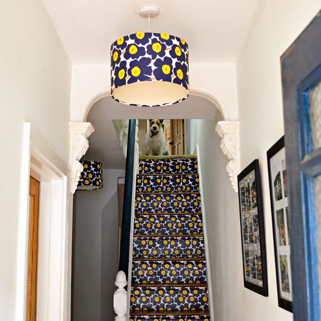 DIY Ideas for Wallpaper Scraps - Marimekko Stair and Lampshade Upcycle - Cute Projects and Easy DIY Gift Ideas to Make With Leftover Wall Paper - Fun Home Decor, Homemade Wall Art Idea Tutorials, Creative Ways to Use Old Wallpapers - Cool Crafts for Men, Women and Teens http://diyjoy.com/diy-ideas-wallpaper-scraps