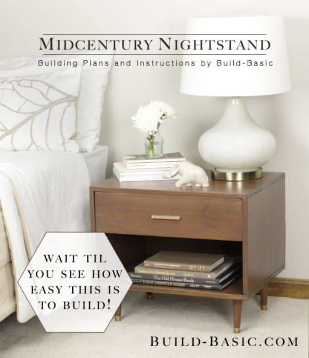 DIY Nightstands for the Bedroom - Midcentury-Style Nightstand - Easy Do It Yourself Bedside Tables and Furniture Project Ideas - Thrift Store Makeovers For Your Room and Bed Side Night Stand - Storage for Books and Remotes, Cute Shabby Chic and Vintage Decor - Step by Step Tutorials and Instructions http://diyjoy.com/diy-nightstands-bedroom