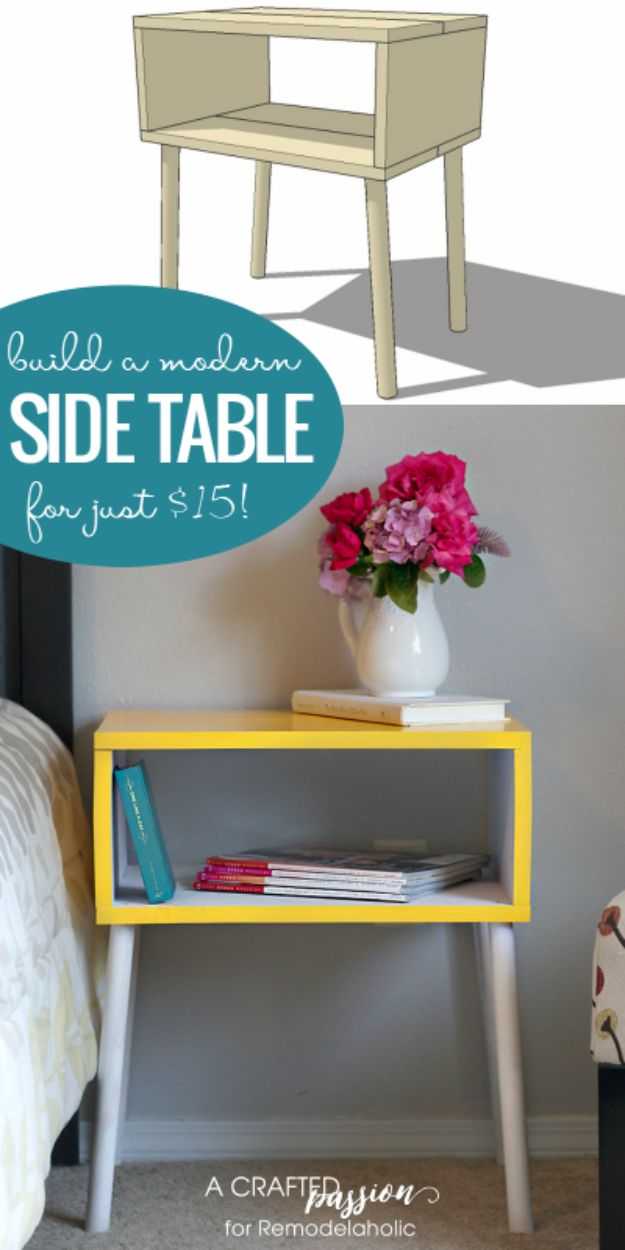 DIY Nightstands for the Bedroom - Modern Nightstand For Under $15 - Easy Do It Yourself Bedside Tables and Furniture Project Ideas - Thrift Store Makeovers For Your Room and Bed Side Night Stand - Storage for Books and Remotes, Cute Shabby Chic and Vintage Decor - Step by Step Tutorials and Instructions http://diyjoy.com/diy-nightstands-bedroom