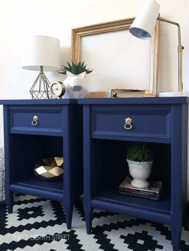 DIY Nightstands for the Bedroom - Modern Painted Nightstands - Easy Do It Yourself Bedside Tables and Furniture Project Ideas - Thrift Store Makeovers For Your Room and Bed Side Night Stand - Storage for Books and Remotes, Cute Shabby Chic and Vintage Decor - Step by Step Tutorials and Instructions http://diyjoy.com/diy-nightstands-bedroom