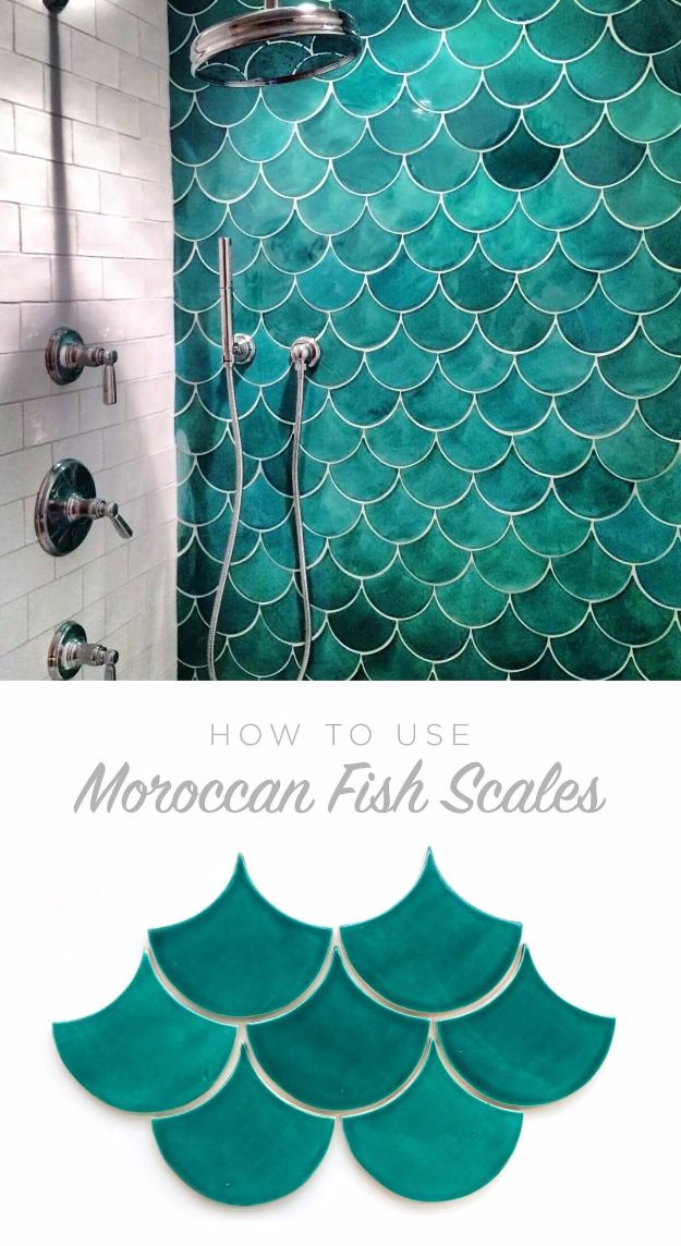 DIY Tile Ideas - Moroccan Fish Scales - Creative Crafts for Bathroom, Kitchen, Living Room, and Fireplace - Awesome Shower and Bathtub Ideas - Fun and Easy Home Decor Projects - How To Make Rustic Entryway Art http://diyjoy.com/diy-tile-ideas