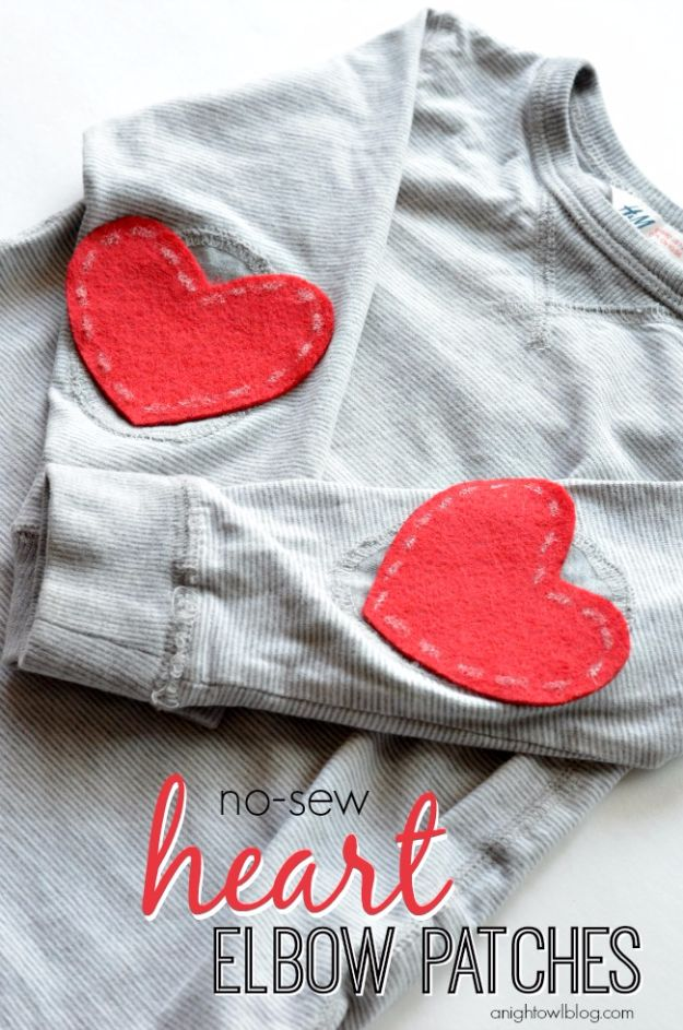 Clothes Hacks - No-Sew Heart Elbow Patches - DIY Fashion Ideas For Women and For Every Girl - Easy No Sew Hacks for Men's Shirts - Washing Machines Tips For Teens - How To Make Jeans For Fat People - Storage Tips and Videos for Room Decor http://diyjoy.com/diy-clothes-hacks