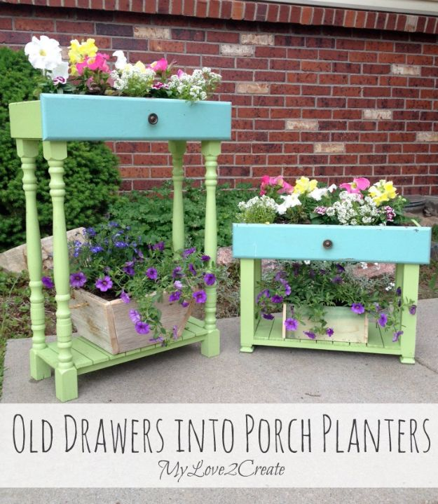 DIY Outdoor Planters - Old Drawers into Porch Planters - Easy Planter Ideas to Make for The Porch, Pation and Backyard - Your Plants Will Love These DIY Plant Holders, Potting Ideas and Planter Boxes - Gardening DIY for Big and Small Plants Outdoors - Concrete, Wood, Cheap, Simple, Modern and Rustic Projects With Step by Step Instructions http://diyjoy.com/diy-oudoor-planters
