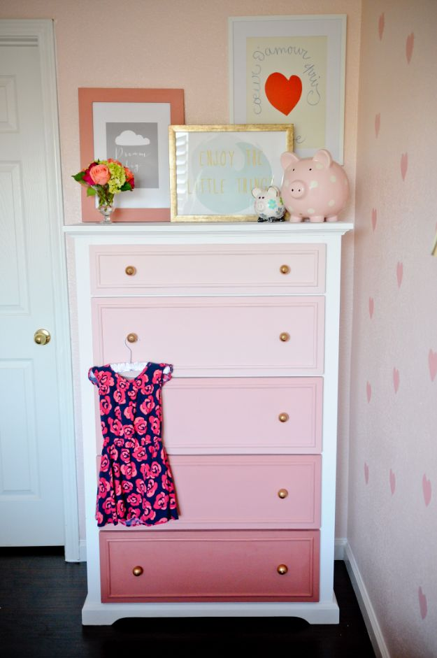 DIY Dressers - Ombre Pink Dresser Masterpiece - Simple DIY Dresser Ideas - Easy Dresser Upgrades and Makeovers to Create Cool Bedroom Decor On A Budget- Do It Yourself Tutorials and Instructions for Decorating Cheap Furniture - Crafts for Women, Men and Teens http://diyjoy.com/diy-dresser-ideas
