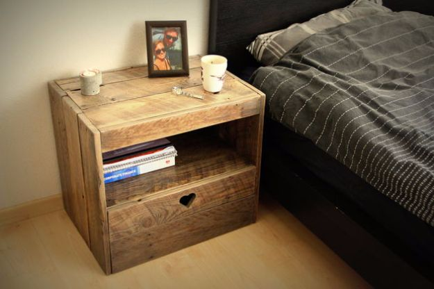 DIY Nightstands for the Bedroom - Pallet Nightstand - Easy Do It Yourself Bedside Tables and Furniture Project Ideas - Thrift Store Makeovers For Your Room and Bed Side Night Stand - Storage for Books and Remotes, Cute Shabby Chic and Vintage Decor - Step by Step Tutorials and Instructions http://diyjoy.com/diy-nightstands-bedroom