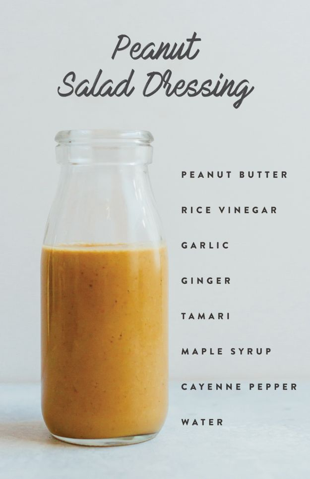 Salad Dressing Recipes - Peanut Salad Dressing - Healthy, Low Calorie and Easy Recipes for Creamy Homeade Dressings - How To Make Vinaigrette, Mango, Greek, Paleo, Balsamic, Ranch, and Italian Copycat Dressings