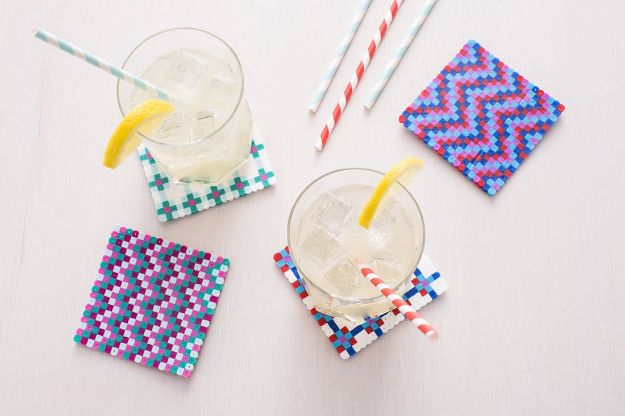 DIY Ideas With Beads - Perler Bead Coaster - Cool Crafts and Do It Yourself Ideas Made With Beads - Outdoor Windchimes, Indoor Wall Art, Cute and Easy DIY Gifts - Fun Projects for Kids, Adults and Teens - Bead Project Tutorials With Step by Step Instructions - Best Crafts To Make and Sell on Etsy