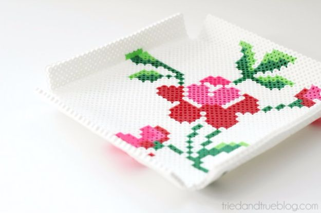 DIY Ideas With Beads - Perler Bead Tray - Cool Crafts and Do It Yourself Ideas Made With Beads - Outdoor Windchimes, Indoor Wall Art, Cute and Easy DIY Gifts - Fun Projects for Kids, Adults and Teens - Bead Project Tutorials With Step by Step Instructions - Best Crafts To Make and Sell on Etsy