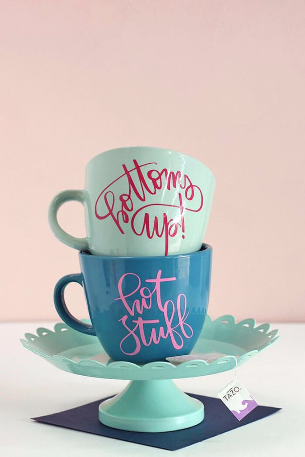 DIY Coffee Mugs - Personalized Coffee Mug - Easy Coffee Mug Ideas for Homemade Gifts and Crafts - Decorate Your Coffee Cups and Tumblers With These Cool Art Ideas - Glitter, Paint, Sharpie Craft, Nail Polish Water Marble and Teen Projects #diygifts #easydiy