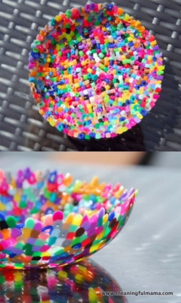 DIY Ideas With Beads - Plastic Bead Bowls - Cool Crafts and Do It Yourself Ideas Made With Beads - Outdoor Windchimes, Indoor Wall Art, Cute and Easy DIY Gifts - Fun Projects for Kids, Adults and Teens - Bead Project Tutorials With Step by Step Instructions - Best Crafts To Make and Sell on Etsy
