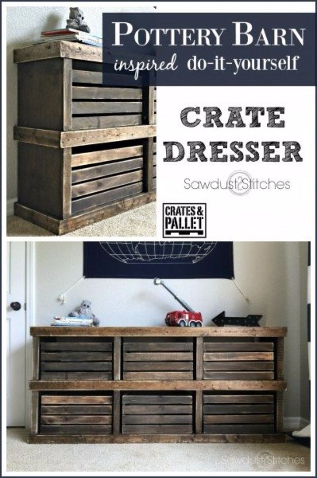 DIY Dressers - Pottery Barn Inspired Crate Dresser - Simple DIY Dresser Ideas - Easy Dresser Upgrades and Makeovers to Create Cool Bedroom Decor On A Budget- Do It Yourself Tutorials and Instructions for Decorating Cheap Furniture - Crafts for Women, Men and Teens http://diyjoy.com/diy-dresser-ideas