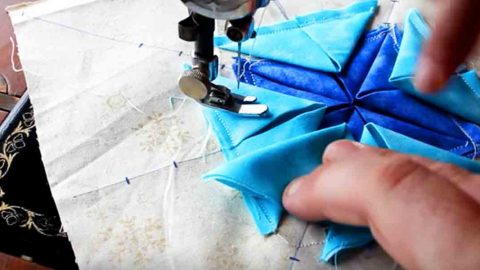 She Folds Fabric Triangles, Then Sews Them Down And The End Result Is Beautiful! | DIY Joy Projects and Crafts Ideas
