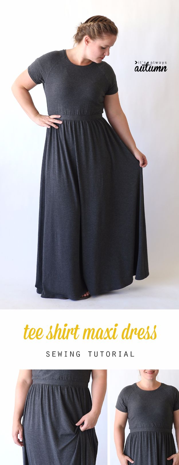DIY Fashion for Spring - Raglan Tee Maxi Dress - Easy Homemade Clothing Tutorials and Things To Make To Wear - Cute Patterns and Projects for Women to Make, T-Shirts, Skirts, Dresses, Shorts and Ideas for Jeans and Pants - Tops, Tanks and Tees With Free Tutorial Ideas and Instructions http://diyjoy.com/fashion-for-spring