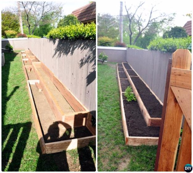 DIY Garden Beds - Raised Garden Bed Along Fence - Easy Gardening Ideas for Raised Beds and Planter Boxes - Free Plans, Tutorials and Step by Step Tutorials for Building and Landscaping Projects - Update Your Backyard and Gardens With These Cheap Do It Yourself Ideas http://diyjoy.com/diy-garden-beds